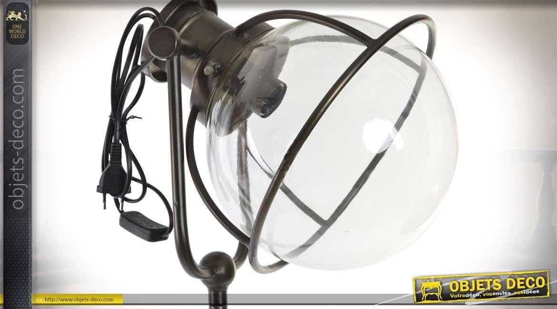 Lampadaire en métal et verre de style rétro et industriel 184 cm