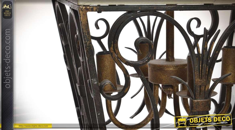 Suspension à 4 feux en bois et métal façon ancienne lanterne suspendue 80 cm