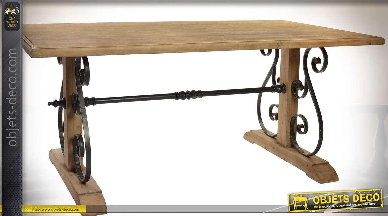 Table de monast re en bois et m tal fa on fer forg 180 x - Table en fer forge et bois ...