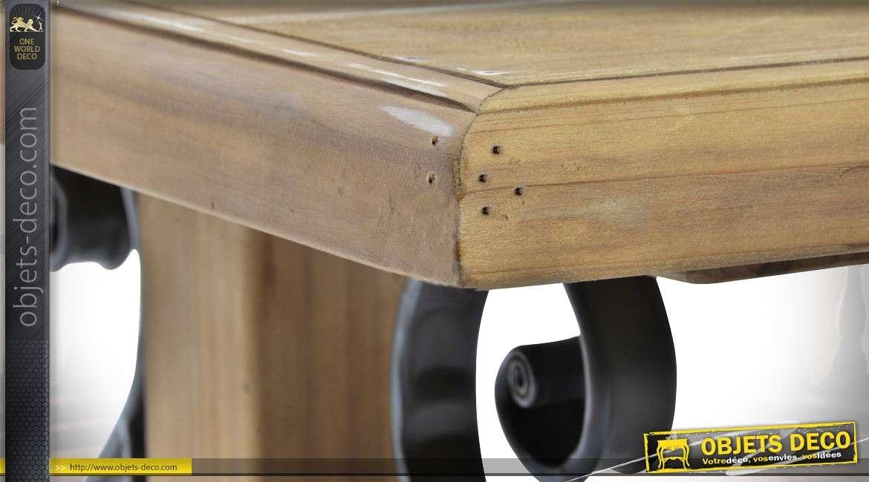 table basse fa on table de monast re en bois massif et fer. Black Bedroom Furniture Sets. Home Design Ideas