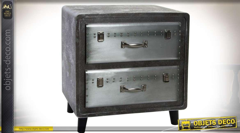 table de chevet industrielle gris argent et gris. Black Bedroom Furniture Sets. Home Design Ideas