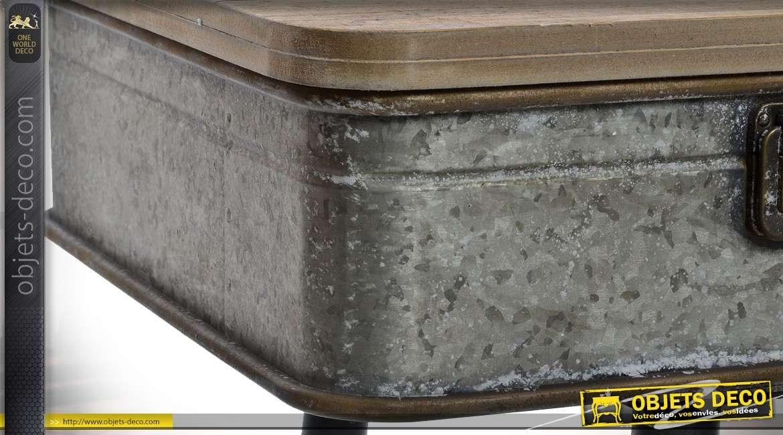 Meuble TV en bois et métal de style vintage et industriel 106 cm
