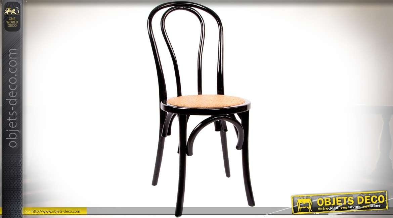 chaise bistro en bois laqu noir brillante avec assise. Black Bedroom Furniture Sets. Home Design Ideas