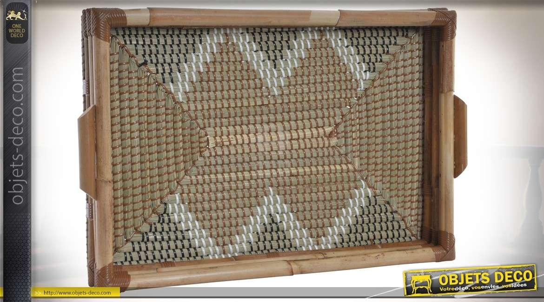 Plateau de service en bambou et fibre naturelle motifs chevrons 52 cm