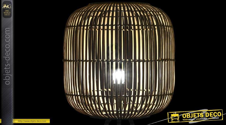 Lampadaire cage en bambou sur piètement en trépied métal noir 90,5 cm