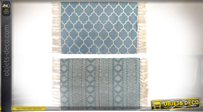 Serie De Deux Tapis En Coton De Style Oriental 90 X 60 Cm Coloris