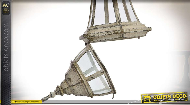 Applique lanterne électrifiée style rétro en métal patine beige effet vieilli 80 cm