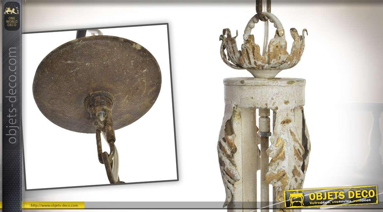 Lustre rétro en métal crème vieilli avec bloc d'éclairage à 3 points de lumière 81 cm