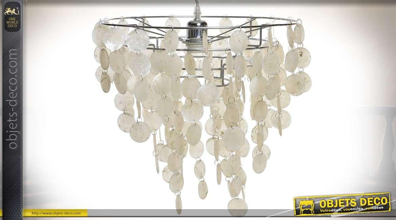 lustre en guirlandes de pampilles circulaires de nacre Ø 38 cm