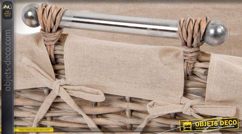 Panier à bûches en osier avec doublure tissu et poignées en métal argenté 43 cm