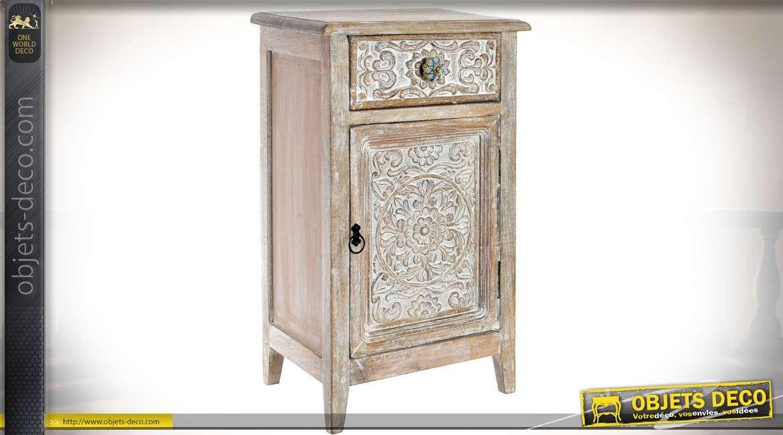 table de chevet haute style brocante chic avec une porte. Black Bedroom Furniture Sets. Home Design Ideas