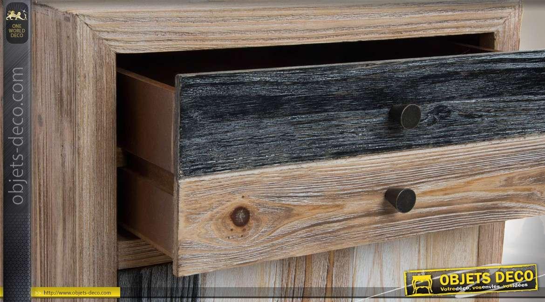 table de chevet de style industriel bois et m tal 1 porte. Black Bedroom Furniture Sets. Home Design Ideas