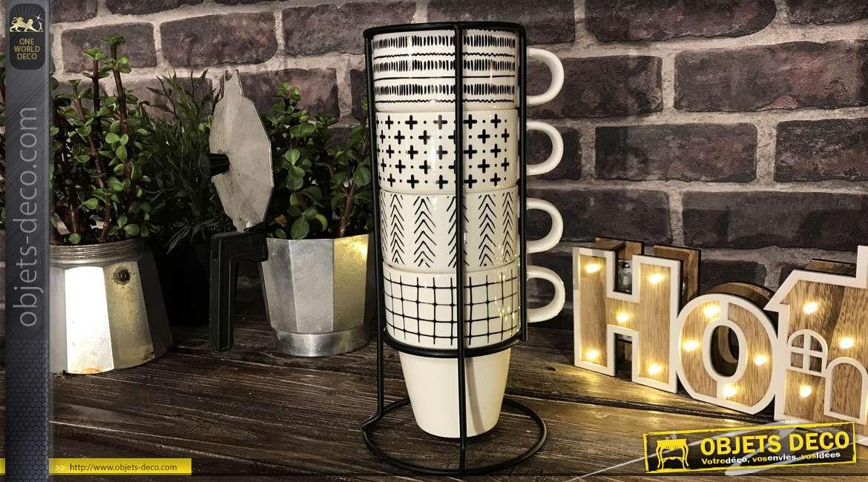 Set de 4 tasses en porcelaine avec support de rangement vertical en métal noir