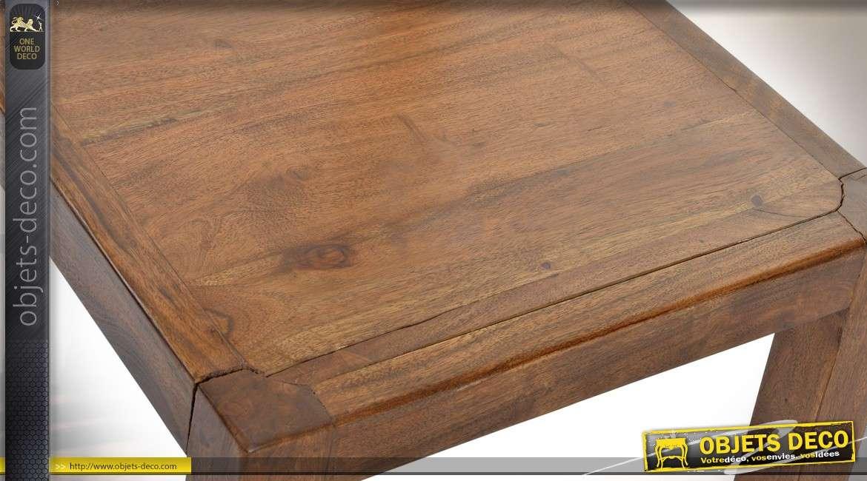 Chaise de style rustique en acacia massif finition ciré brun antiquaire 92 cm