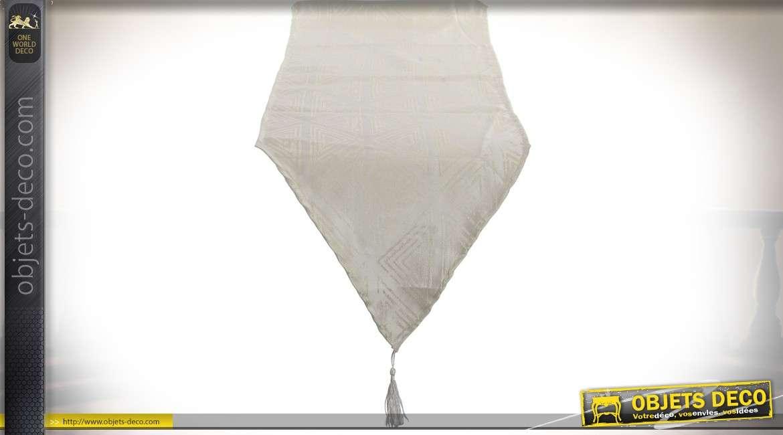 Chemin de table à pointes en polyester coloris lin écru motifs géométriques en camaïeu