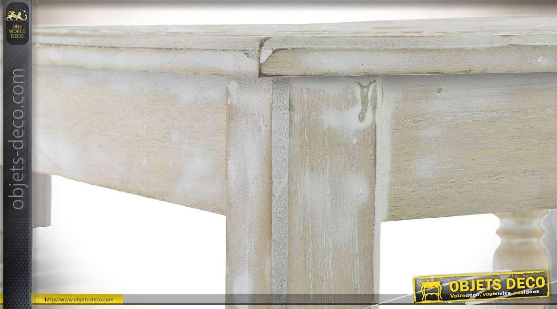 Petite table basse carrée en bois sculpté blanc vieilli de style indien 45 x 45 cm