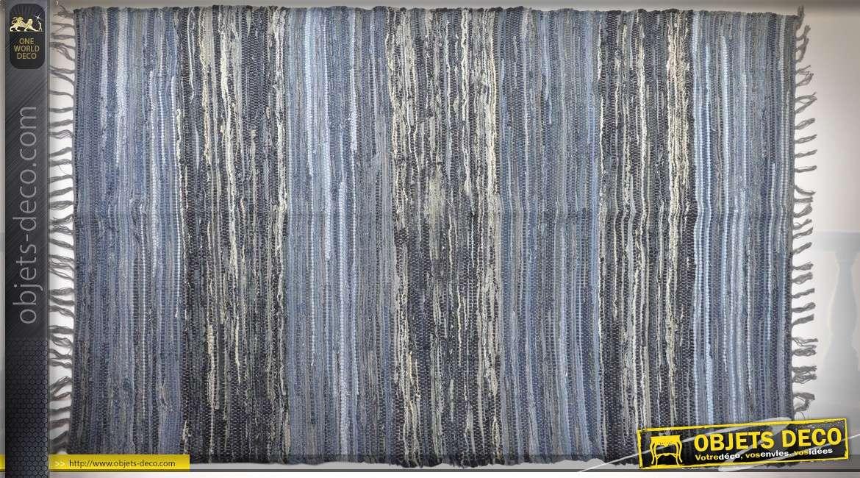 Grand tapis 230 x 160 en coton lirette jean en teintes de bleus variées