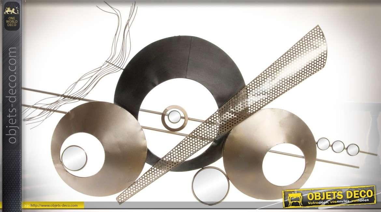 Décoration murale création abstraite et géométriques effet métal et miroirs 109 cm