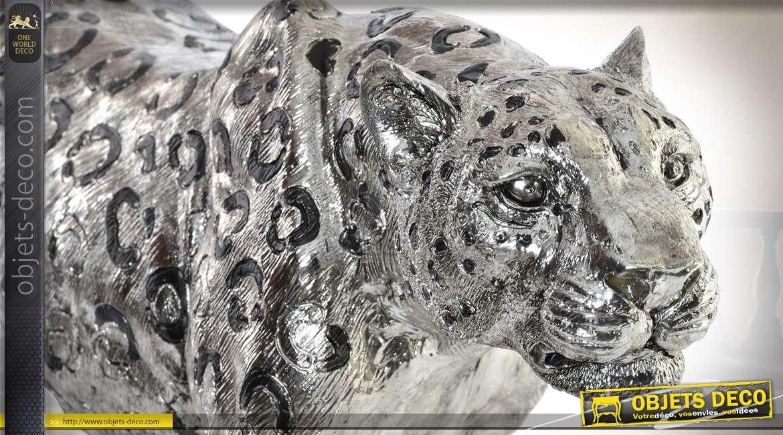 Statuette décorative jaguar imitation métal argenté 60 cm