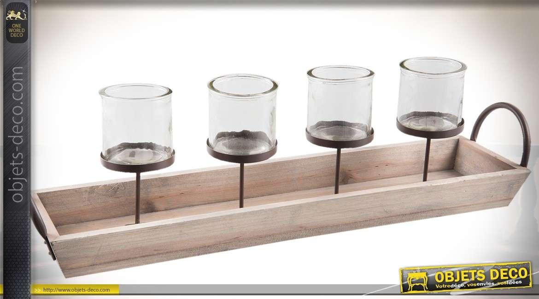 Plateau porte-bougies en bois et métal avec 4 bougeoirs en verre 61 cm