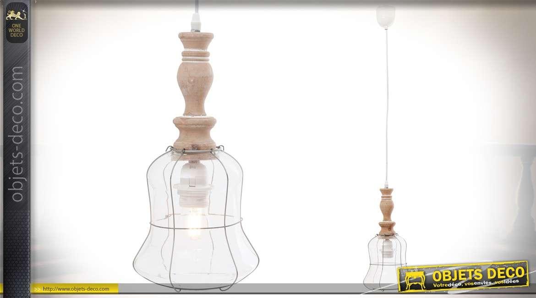 Suspension rétro en bois et métal avec cloche en verre grillagée 37 cm