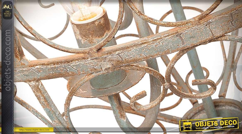 Suspension sphérique à 3 feux en métal crème vieilli effet fer forgé Ø 48 cm