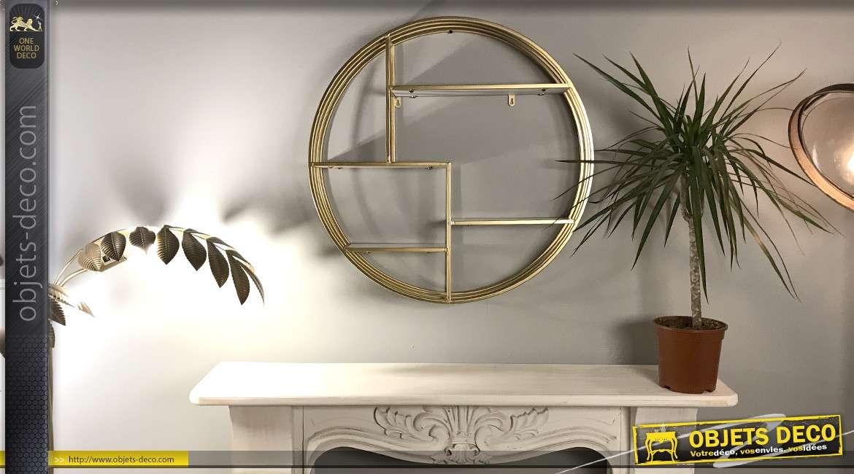 Etagère murale cylindrique en métal doré et bois style design Ø 70 cm