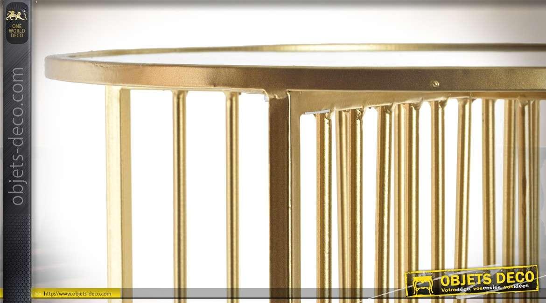 Bout de canap rond design dor en m tal et verre 40 cm - Bout de canape dore ...