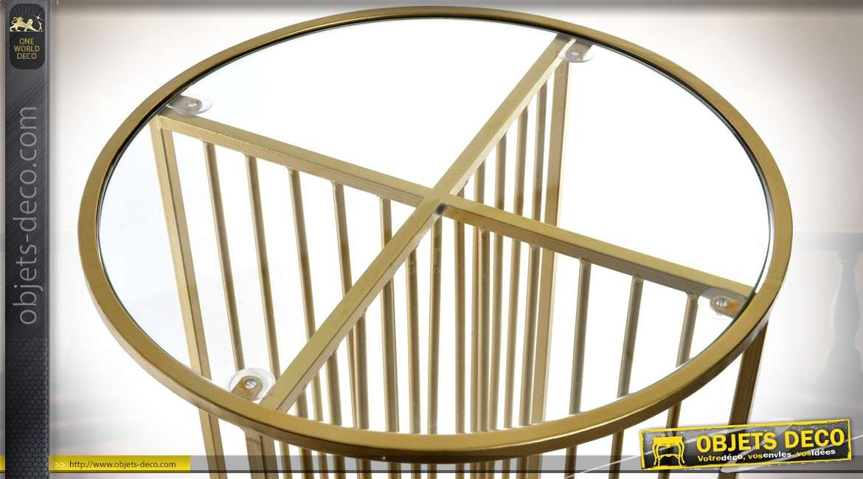 Bout de canapé rond design doré en métal et verre Ø 40 cm