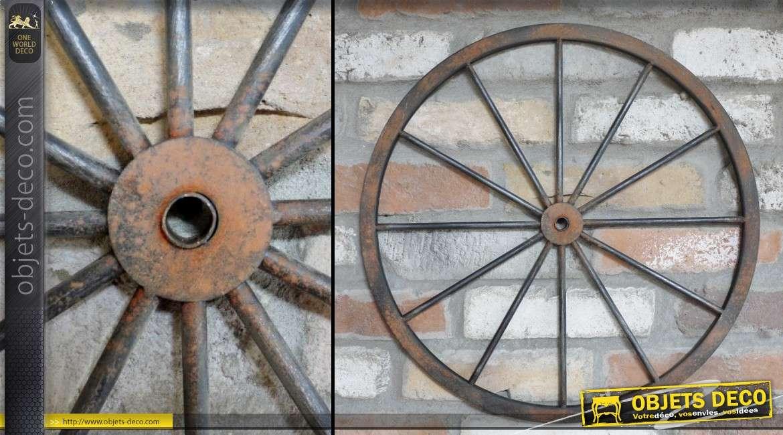 Objet décoratif roue de charrette en métal noir finition oxydé Ø 47 cm