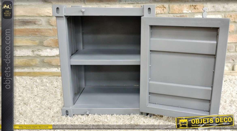 Table de chevet en forme de petit container en métal gris clair 55 cm