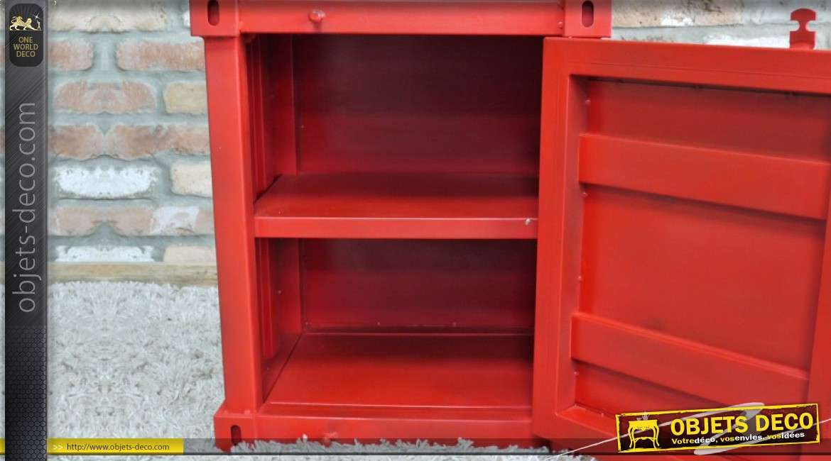 Table de chevet en forme de mini container rouge en métal 55 cm