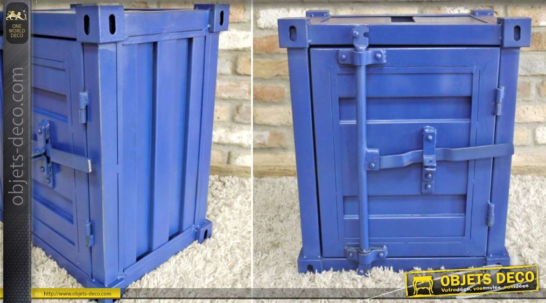 table de nuit petit container en m tal bleu style. Black Bedroom Furniture Sets. Home Design Ideas