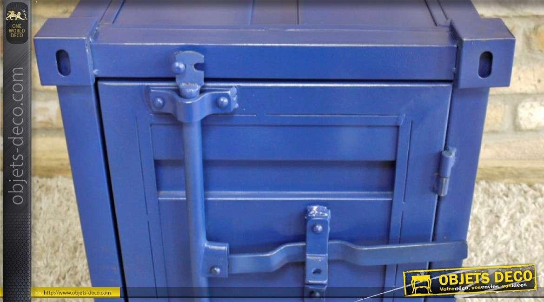 Table de nuit petit container en métal bleu style industriel  55 cm