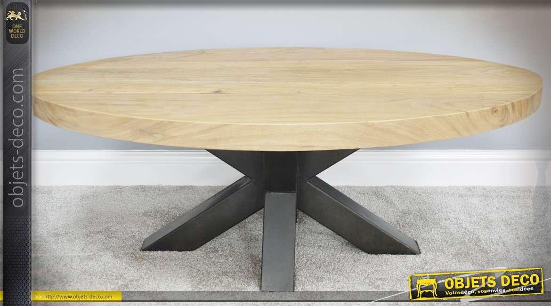 Table basse ovale rustique en métal et bois massif 120 x 80 cm