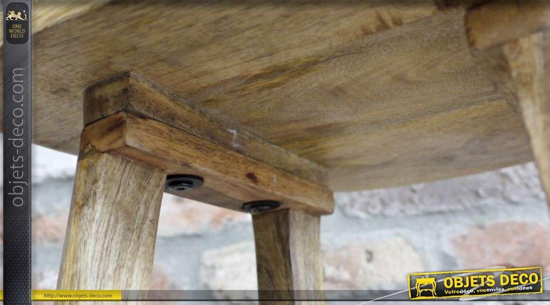 Tabouret de bar en manguier massif rustique et vintage 76 cm