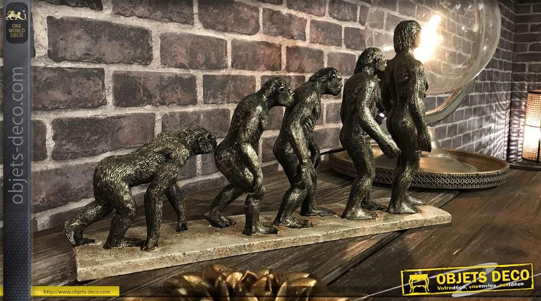 Déco à poser représentant l'Evolution, en résine finition cuivré ancien 45cm