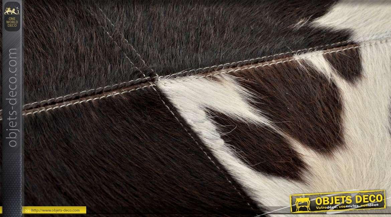 Banquette bout de lit design métal argenté et fourrure naturelle de vache 122 cm