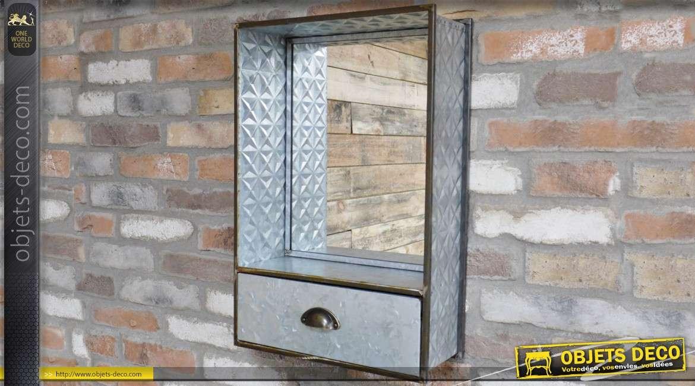 Miroir étagère en métal avec tiroir finition zinc gaufré vieilli 60 cm