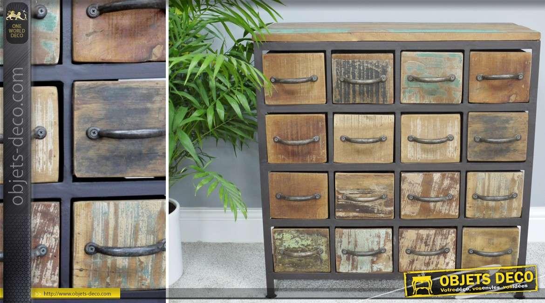 Petit meuble de rangement 16 tiroirs style r tro et industriel bois et m tal - Petit meuble a tiroirs ...