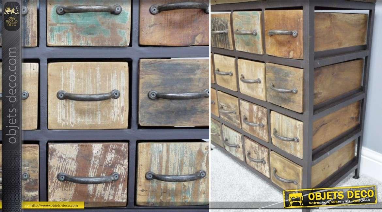 Petit meuble de rangement 16 tiroirs style r tro et industriel bois et m tal for Meuble de rangement industriel