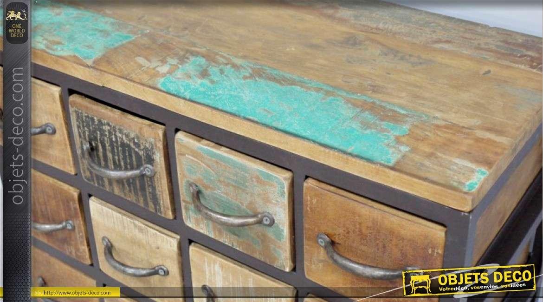 Petit meuble de rangement à 16 tiroirs style rétro et industriel bois et métal