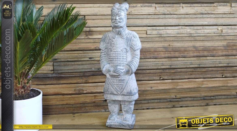 Statuette guerrier Xian imitation pierre grise effet blanchi 59 cm