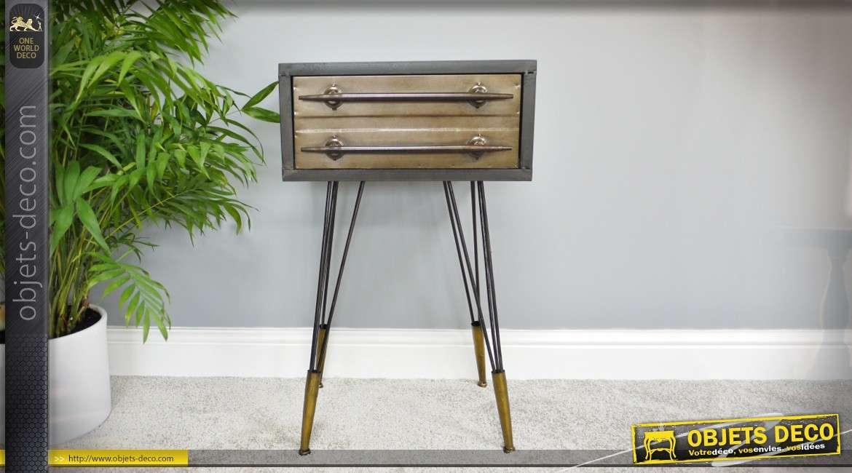 Table de chevet rétro indus en métal finition gris vieilli et cuivre 69 cm