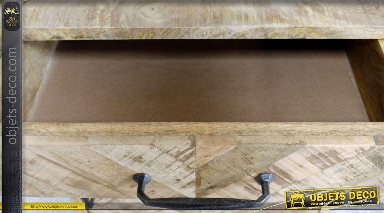 Table de chevet rétro et brocante en mango effet marqueterie 1 porte 1 tiroir