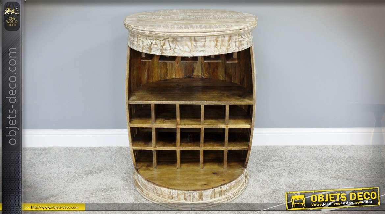 Meuble bar tonneau ancien patine blanche viellie 90 cm