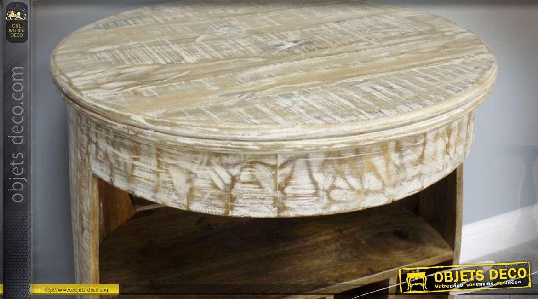 Meuble bar tonneau ancien patine blanche viellie 90 cm - Blanche porte suivi de colis ...