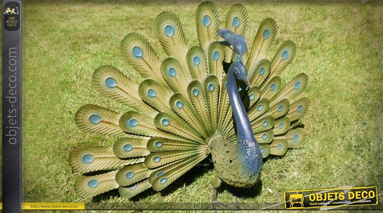 Paon décoratif en métal faisant la roue 80 cm