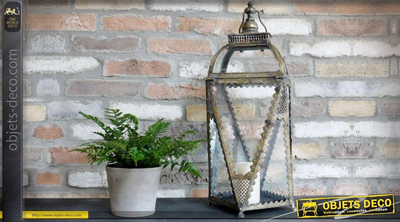 Lanterne décorative rétro en métal doré et verre 62 cm