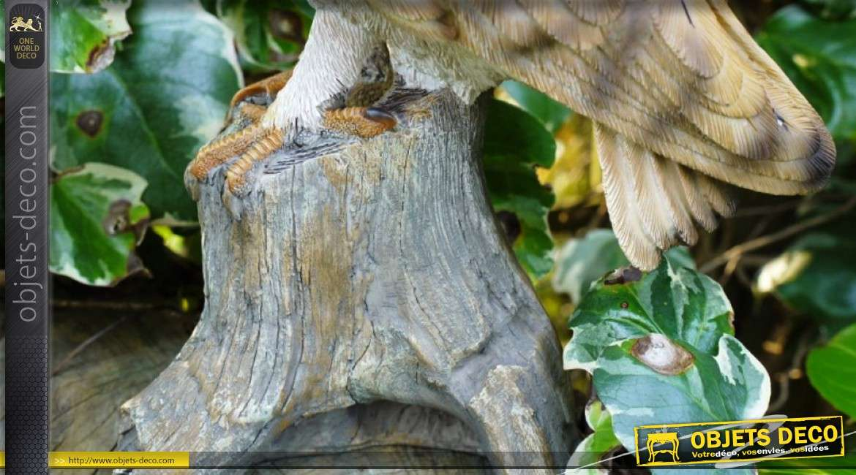 Statuette chouette effraie en résine sur tronc d'arbre 32 cm